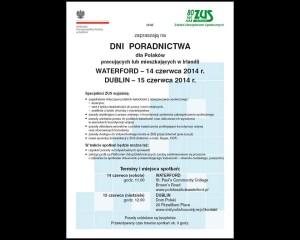 Dni Poradnictwa ZUS 14 (Waterford) i 15 (Dublin) czerwca 2014